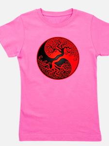 Red and Black Yin Yang Tree Girl's Tee