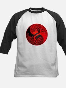 Red and Black Yin Yang Tree Baseball Jersey