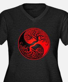 Red and Black Yin Yang Tree Plus Size T-Shirt