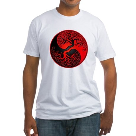 Red and Black Yin Yang Tree T-Shirt