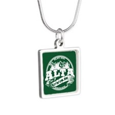 Alta Old Circle Green Silver Square Necklace