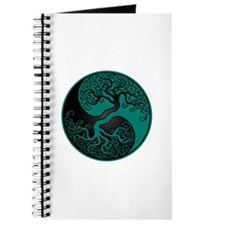 Teal Blue And Black Yin Yang Tree Journal