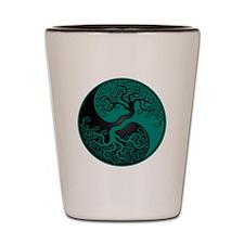 Teal Blue and Black Yin Yang Tree Shot Glass