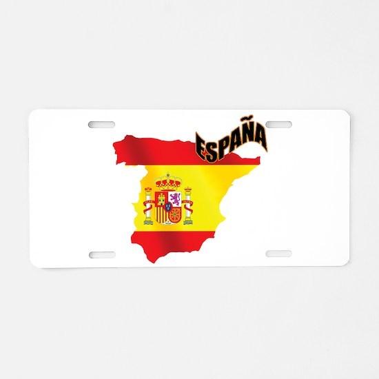 Flag Map of Spain Aluminum License Plate