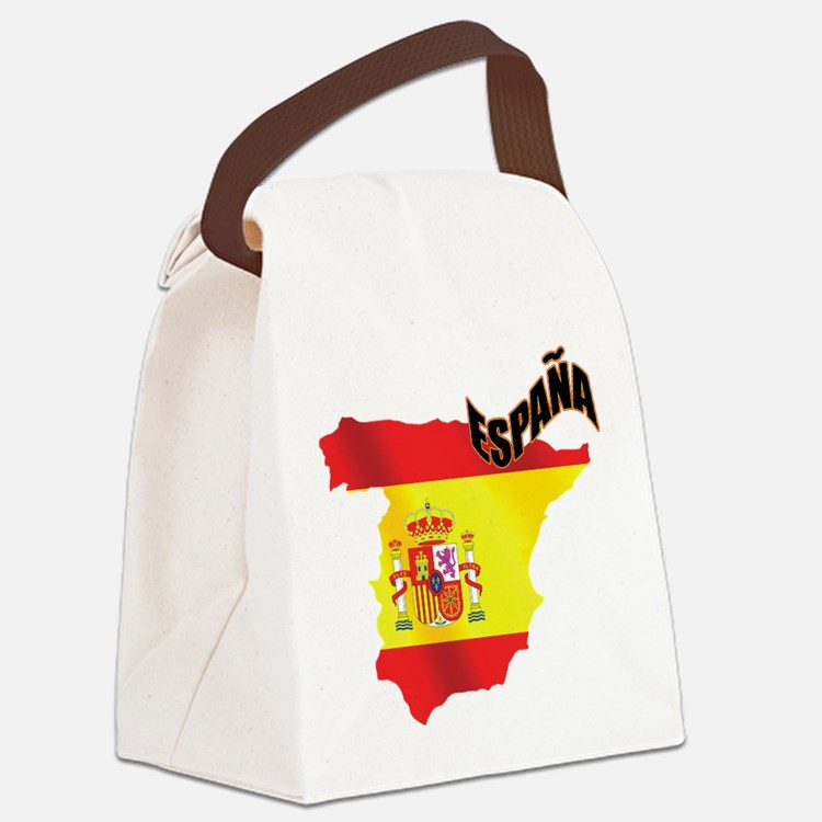 Flag Map of Spain Canvas Lunch Bag