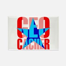 Star Geocacher Red Rectangle Magnet