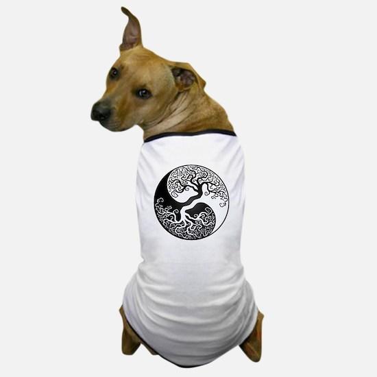 White and Black Yin Yang Tree Dog T-Shirt