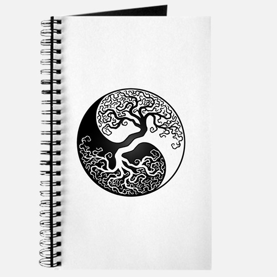 White And Black Yin Yang Tree Journal