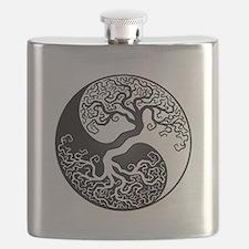White and Black Yin Yang Tree Flask