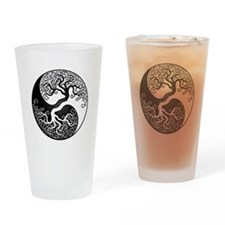 White and Black Yin Yang Tree Drinking Glass