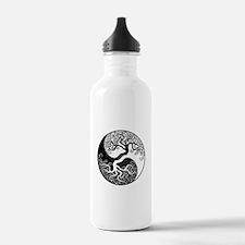 White and Black Yin Yang Tree Water Bottle