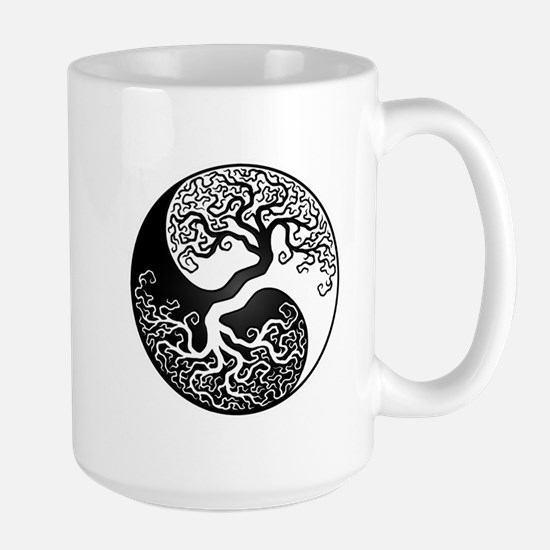 White and Black Yin Yang Tree Mugs