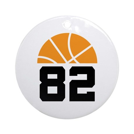 Basketball Number 82 Player Gift Ornament (Round)