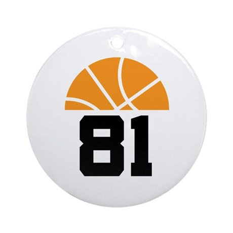 Basketball Number 81 Player Gift Ornament (Round)
