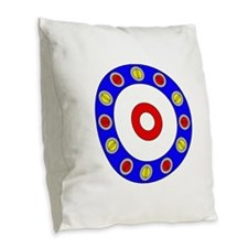 Curling Rocks Around the Clock Burlap Throw Pillow