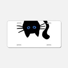 Black Cat With Blue Eyes Aluminum License Plate