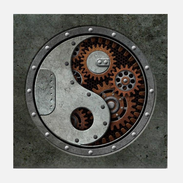 Steampunk Yin Yang Tile Coaster