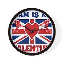 Liam is My Valentine Cupid British Flag Wall Clock