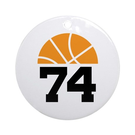 Basketball Number 74 Player Gift Ornament (Round)