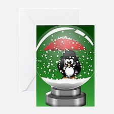 Snowglobe Penguin Greeting Card