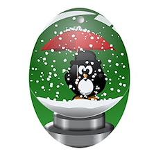 Snowglobe Penguin Oval Ornament