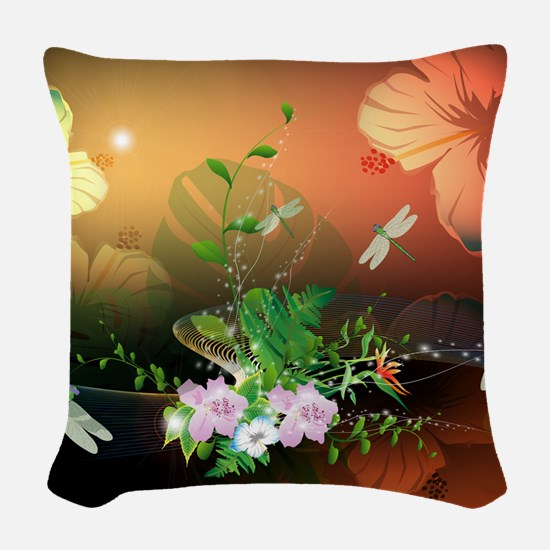 Flowers Woven Throw Pillow