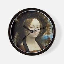 Leonardo da Vinci - Ginevra de Benci Wall Clock
