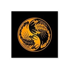 Yellow Yin Yang Scorpions on Black Sticker