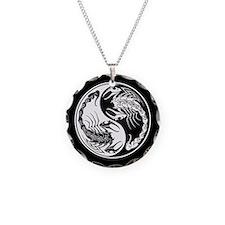 White Yin Yang Scorpions on Black Necklace