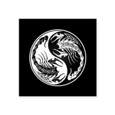 White Yin Yang Scorpions on Black Sticker