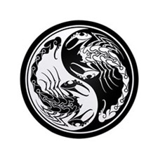 "White Yin Yang Scorpions on Black 3.5"" Button"
