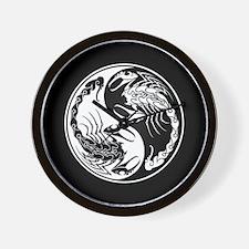 White Yin Yang Scorpions on Black Wall Clock