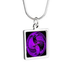 Purple Yin Yang Scorpions on Black Necklaces