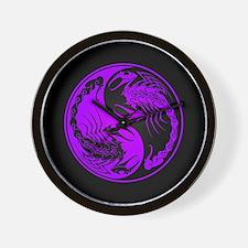 Purple Yin Yang Scorpions on Black Wall Clock