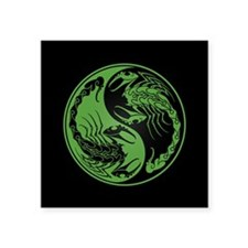 Green Yin Yang Scorpions on Black Sticker