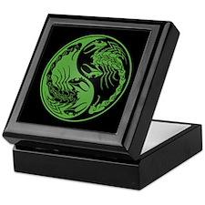 Green Yin Yang Scorpions on Black Keepsake Box