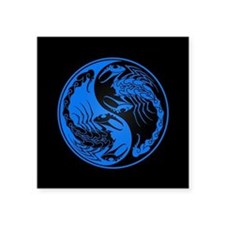 Blue Yin Yang Scorpions on Black Sticker