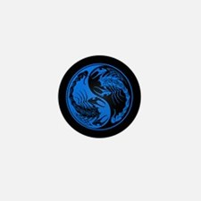 Blue Yin Yang Scorpions on Black Mini Button