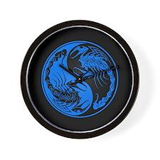 Blue Yin Yang Scorpions on Black Wall Clock