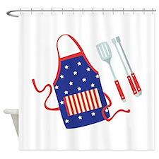 Patriotic Grill Accessories Shower Curtain