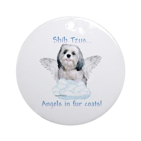 Shih Tzu Angel Ornament (Round)