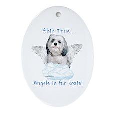 Shih Tzu Angel Oval Ornament