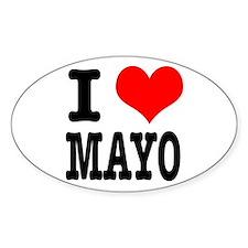 I Heart (Love) Mayo (Mayonaise) Oval Decal