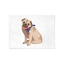 Patriotic Pug 5'x7'Area Rug
