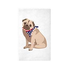 Patriotic Pug 3'x5' Area Rug