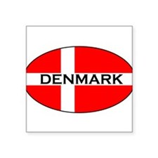 Danish Flag with text Oval Sticker