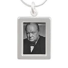 winston churchill Silver Portrait Necklace