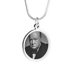 winston churchill Silver Round Necklace