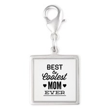 Best & Coolest Mom Ever Silver Square Charm