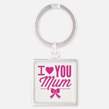 I Love You Mum Square Keychain